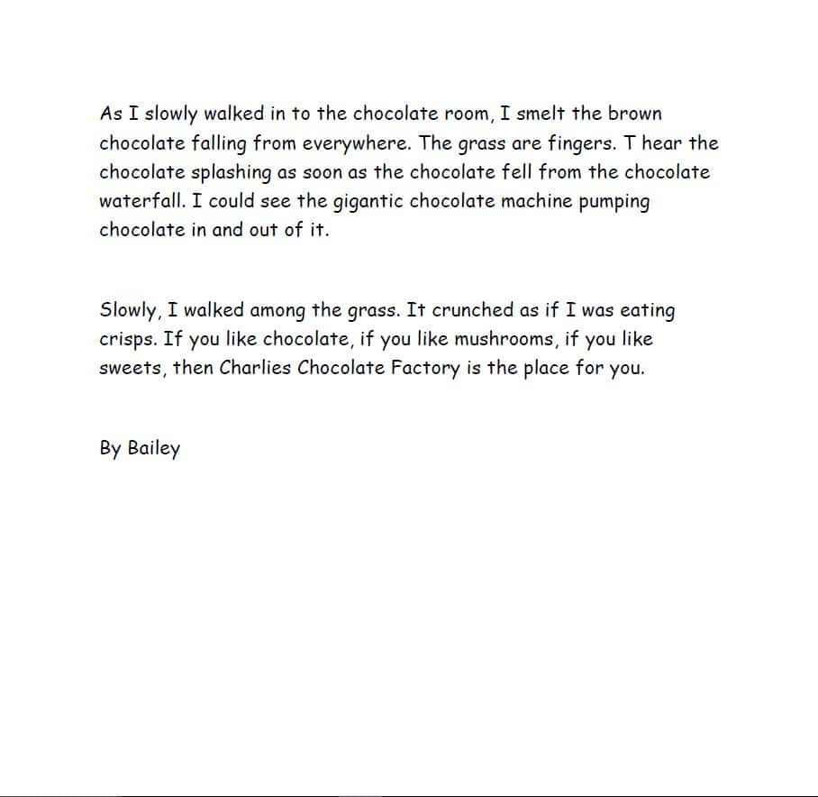 year 4 descriptive writing boothferry primary school we have been using the chocolate room from charlie and the chocolate factory to improve our descriptive writing we were using fronted adverbials and